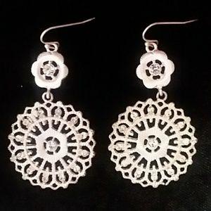 Jewelry - Silver lacy Medalion glitzy Earrings